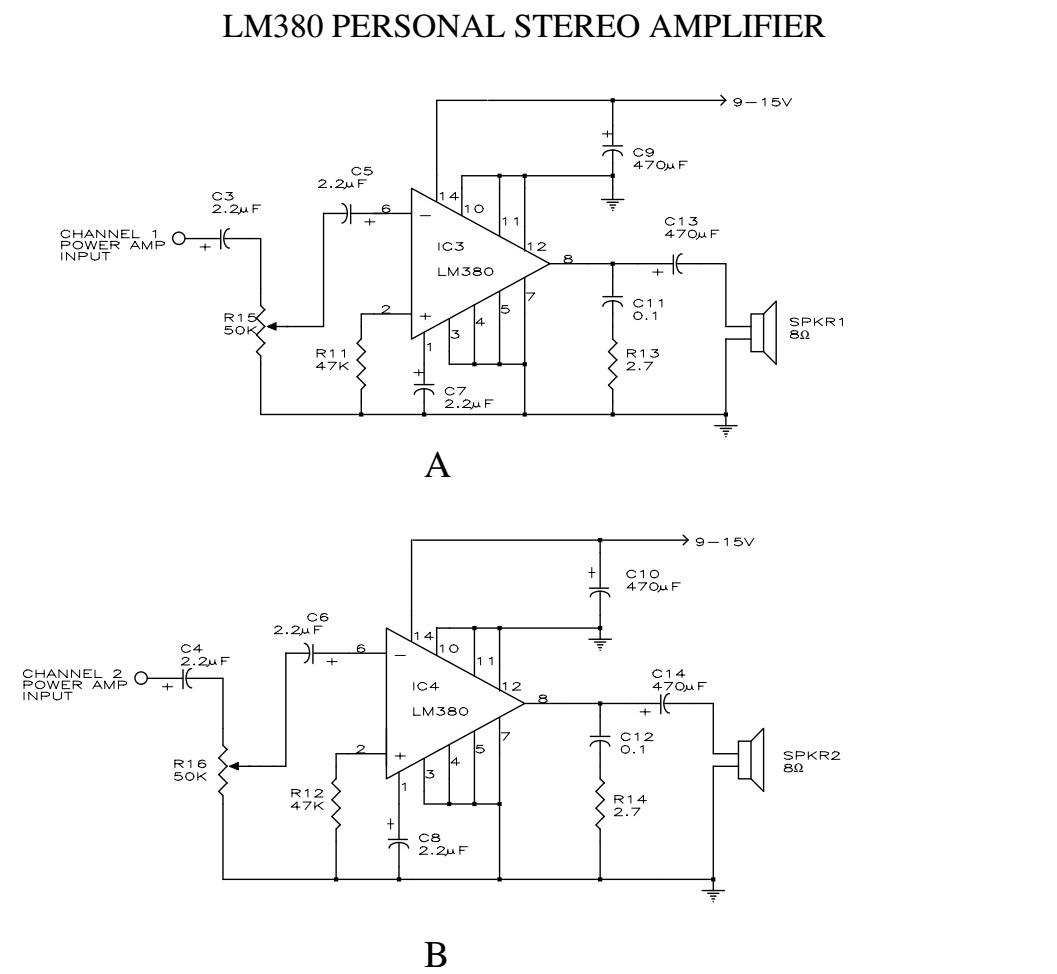 IC LM380 làm mạch khuếch đại 2 kênh cho thiết bị nghe cá nhân
